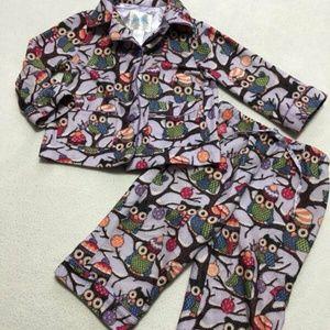Nick & Nora 12M Snowy Owl Fleece Pajama Set